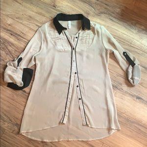 Cream & Black button up blouse